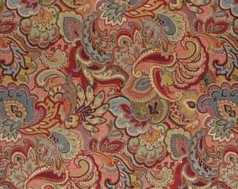 Green Blue Red And Gold Abstract Floral Upholstery Fabric By The Yard | Pattern # A0025B