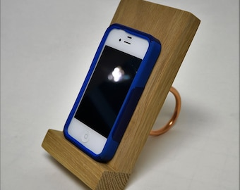 Cell Phone, Smartphone stand, hand made of solid naked oak / copper leg