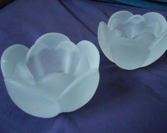 Frosted tulip candle holders