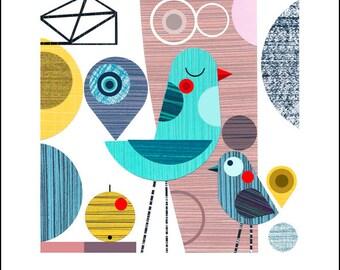 Meditation, paper cut, blue bird, print