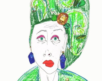 LYNN DELL COHEN Drawing Print / Portrait/ mixed media / advanced style / fashion / Woman /  size a3 & Original