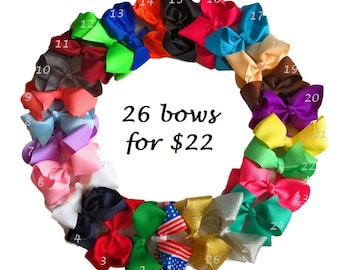Hair clips, hair bows, 4 inch bows, baby girl hair bows, pigtails hairbows, baby hair clips, hairbows, Christmas gift set for baby girl,