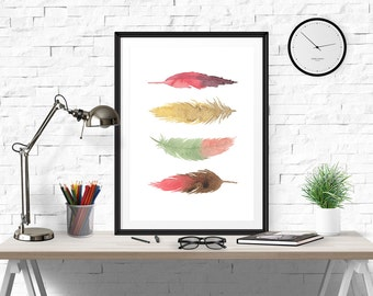 Feather Print, Quote Poster, Inspirational Wall Art, Motivational Print, Inspirational, Quote Wall Art, Printable Art, Printable Wall Decor
