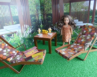 """TROPICAL GARDEN Diorama with 1960's Vintage Furniture for  Mini American Girl dolls and other 7""""-9"""" dolls like Blythe, Ginny, Lottie,"""