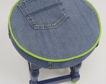 Snazzy denim covered stool - Please see full description for shipping fee.