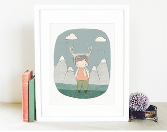 "Baby Boy Art - Deer Boy - Mountains and Raindrops and Clouds Illustration  8x10"" Art Print"