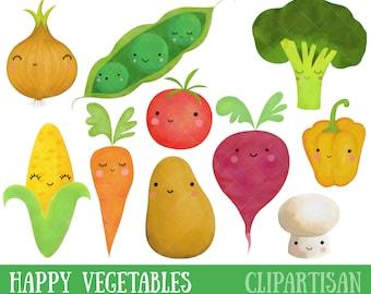 Happy Vegetables Watercolor Clipart | Kawaii Clip Art | Cute Vegetables