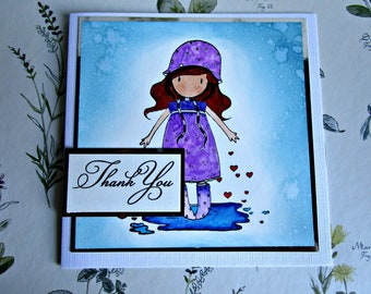 Thank you card. Thanks card. Simple thank you. Santoro Gorjuss. Gorjuss card. Hand stamped card. Watercolour card.