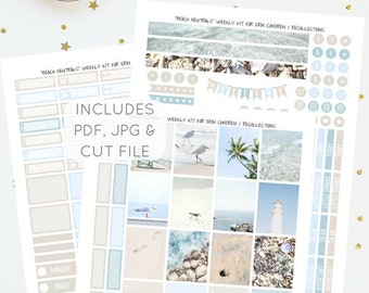 Beach Neutrals - Printable Weekly Kit for Erin Condren   Planner Stickers   Instant Download   PDF & JPG   Includes Cut File