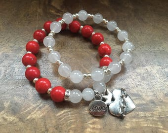 Valentines Day Stackable Bracelets. Beaded bracelets with charms and rhinestone spacers