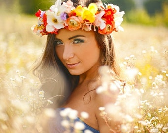 Summer Floral Crown / Colorful Flower Crown Rustic Flower Halo Country Wedding Headpiece Yellow Bridal Circlet Bright Floral Hairpiece