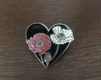 Opium Poppy flowers on a Black Heart Pin