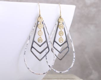 Teardrop Dangle Earrings Mixed Metal Earrings Sterling Gold Black Earrings Hammered Chevron Drop Earrings Long Dangle Earrings Gift For Her