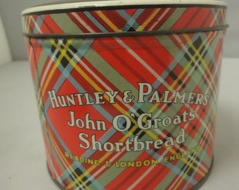 """Kitchenalia......Very striking colourful biscuit TIN """"Huntley & Palmers""""  shortbread  circa 1930s"""