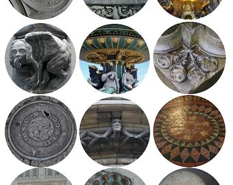 "Ornamentation, Digital Collage Sheet, 2"" Circles, European Architectural Ornamentation"