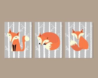 FOX Nursery WALL ART, Fox Nursery Decor, Fox Nursery Art, Woodland Nursery, Woodland Animals Boy Nursery Decor Set of 3 Prints Or Canvas