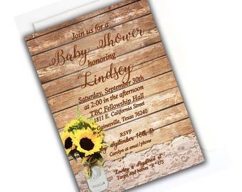 RUSTIC SUNFLOWER INVITE- Sunflower Rustic Baby Shower Invitation