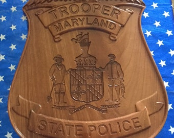 Maryland Trooper State Police badge plaque