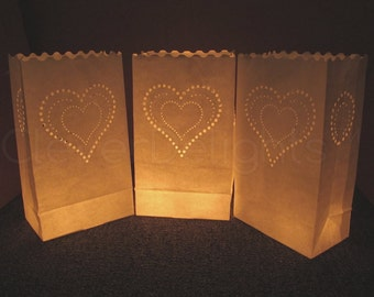 20 White Luminary Bags - Heart of Hearts Design - Wedding, Reception, and Party Decor - Flame Resistant Paper - Candle Bag - Luminaria