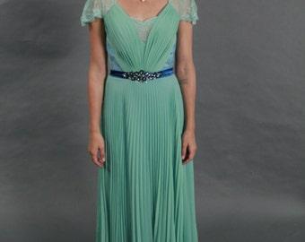 Elegant lace V-neck see through back chiffon evening prom dress