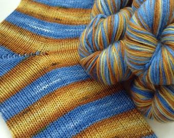 Hand dyed self striping merino sock yarn - Cooper's Crossing
