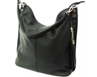 Black LEATHER HOBO BAG, Everyday Leather Shoulder Bag, Leather tassel
