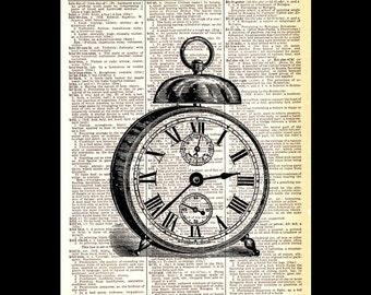 VINTAGE ALARM CLOCK art print wall decor upcycled dictionary book page illustration retro windup mechanical clock black white 4x6, 5x7, 8x10