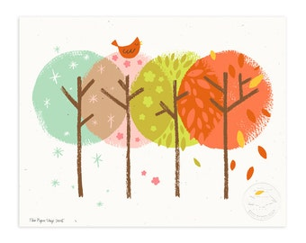 Four Seasons Forest Illustrated Art Print