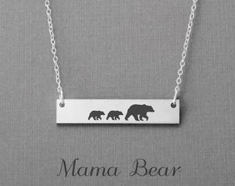 Mama And Cubbies Necklace, Mama Bear Necklace, Mom Family Necklace, New Mom Necklace