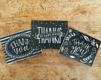 Thank you card - Chalkboard - Set of 12
