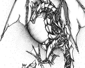 Mechanical Dragon, Giclee art print. Original drawing, Black and white art, Illustration, Fine art, Ink drawing, art print, Ink art, drawing
