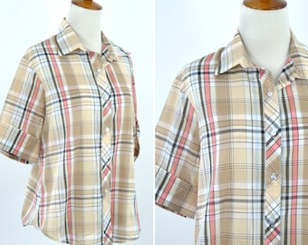Vintage 1990's Brown Blue and Pink Casual Short Sleeve Button up Plaid Blouse - Summer Spring Mori Girl Top - Size Medium