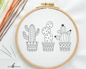 Cactus, Succulent Prickly Pear Digital hand embroidery pattern , PDF instant Download