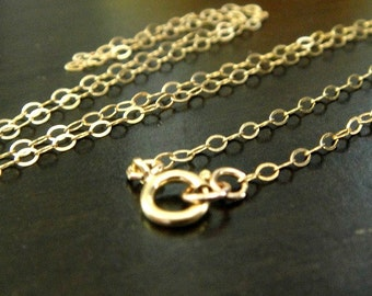 FINISHED Gold Filled Chain with clasp, 14k Flat Cable Chain, 1 PCS, 2x1.5mm, 24 inch, WHOLESALE Chain