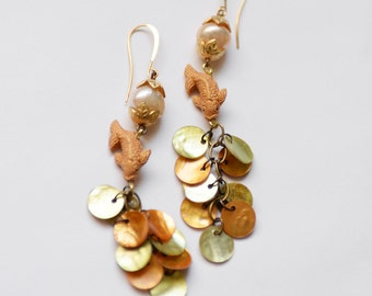 Koi Fish Earrings, MOP Shell Earrings with Pearls and Koi Fish Beads, Asian Earrings, Chinese New Year Jewelry, Pisces Earrings, SRAJD