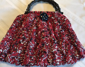 Hand Knitted red cable Handbag