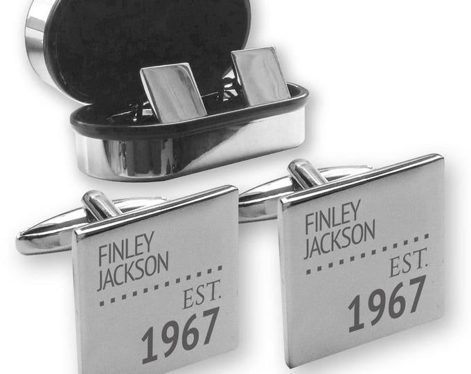Personalised engraved 50TH BIRTHDAY cufflinks, in a chrome coloured presentation box, Established - ES50