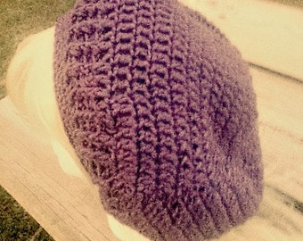Crochet Slouchy Beanie Extra Large Oversize Hat Purpl Slouch Hat