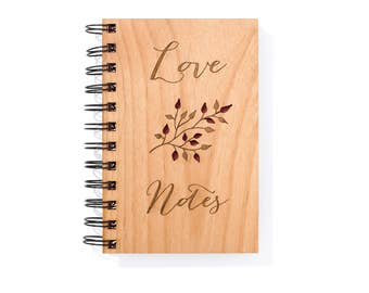 Wedding Love Notebook Wood. Valentines Day Gift. 5th Anniversary Gift Ideas for Wife, for Husband