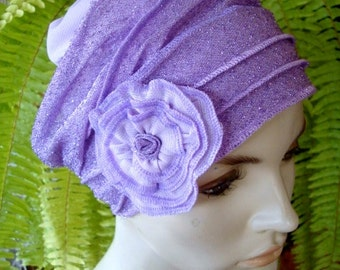 Womens Chemo Hat soft Evening Hat Lilac Mauve Lyrex With Flower Evening Headwear Beanie slouchy Hat