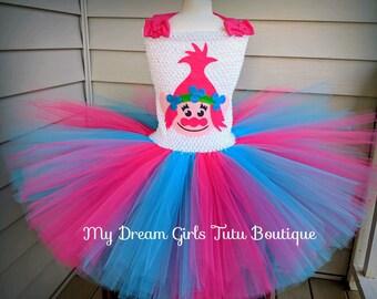 Princess Poppy trolls dress, trolls tutu dress, Poppy troll dress, troll birthday party outfit, trolls tutu, Poppy trolls birthday outfit