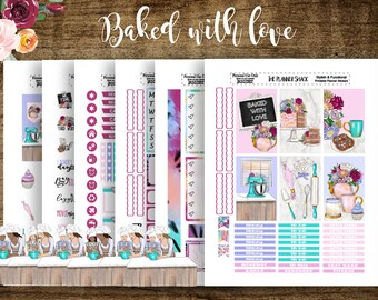 Baked With Love | 2018 Big Happy Planner | Printable Planner Stickers | Printable Stickers | Baking | Mothers Day | Planner Printables