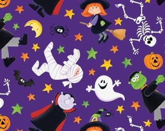 100% Cotton fabric by Half Yard increments - Happy Haunting purple skeleton mummy witch vampire ghost frankenstein 20590-85 - by Northcott