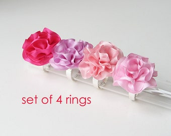 Bridesmaid's rings, Ruffled silk rings, Set of 4 rings, Wedding party accessories, Silk ribbon rings, Made to order bridesmaid's rings
