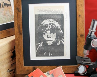 Sam Gamgee linocut printed on upcycled vintage 70's book the Fellowship of the Ring. A limited edition Lord of the Rings lino print series