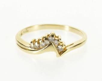 14k Diamond Inset Chevron Wedding Band Ring Gold