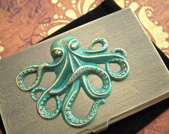 Steampunk Business Card Case Green Brass Octopus Vintage Inspired Antiqued Bronze Brass Metal Case Gothic Victorian Florentine Scroll New