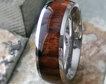 8mm Titanium Rosewood Inlay Comfort Fit Personalized Mens Womens Wedding Ring Band Mans Jewelry Promise Ring ( FREE ENGRAVING ) AZ175