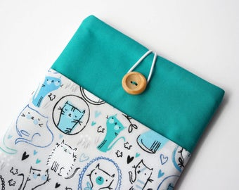 Teal iPad Mini 2 case, Cat iPad Mini 4 cover, iPad case, Grey and teal tablet cover, Gift for her