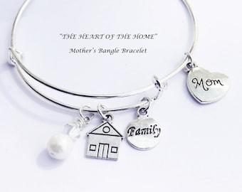Mother Bracelet. Bangle Bracelet. The Heart Of The Home. Mom Bracelet. Mom Gift. Mothers Day. Mothers Gift. Family